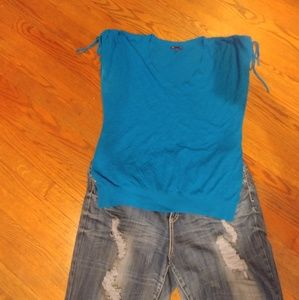 GAP XL Blue Ruched Tie Sleeve V Neck Knit Top
